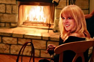 Birthday party by the fireplace
