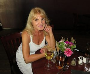 wine and flowers - and me...